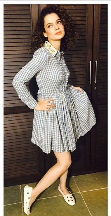 Yay or Nay? Kangana Ranaut wearing a gingham print shirt dress by Manoush at the screening of her movie Simran - SeenIt