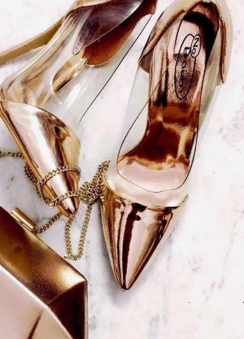 Help me find this golden and transparent stiletto pumps. - SeenIt