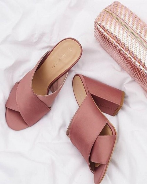 Need these blush pink block heeled mules. - SeenIt