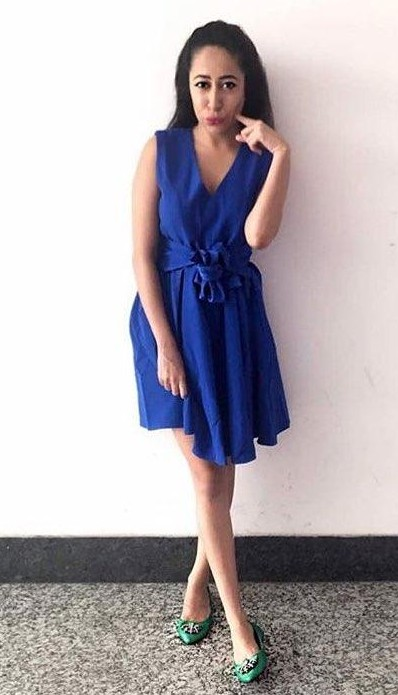 Want this blue bow skater dress that Nandini Bhalla is wearing. - SeenIt