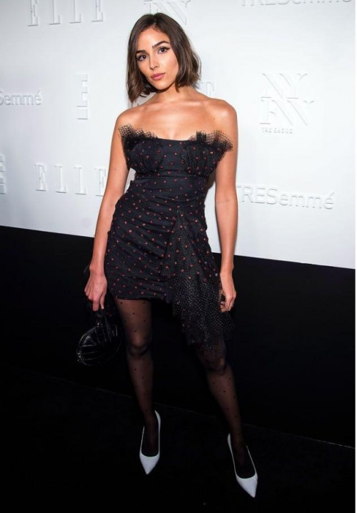 Yay or Nay? Olivia Culpo wearing a black strapless dress with stockings at the Elle + E! + IMG host celebration party during the New York Fashion Week - SeenIt