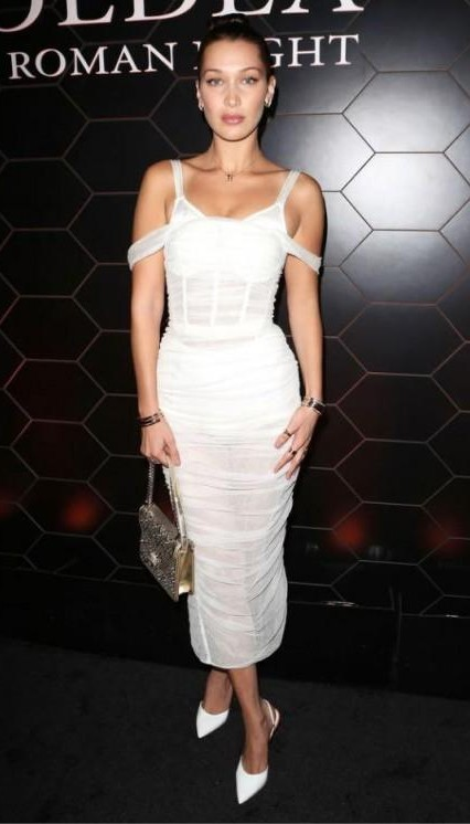 Yay or Nay? Bella Hadid wearing a white cold shoulder mesh midi dress at the Bulgari fragrance launch party during the New York Fashion week - SeenIt