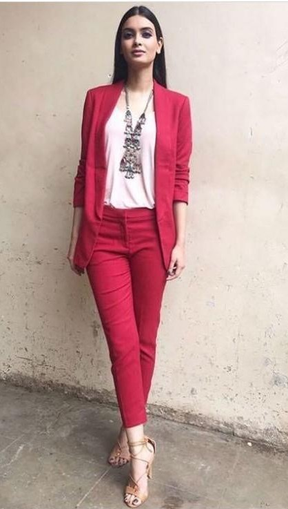 I am looking for same outfit which diana penty is wearing for lucknow central promotions , red blazer and red ankle length pants online - SeenIt
