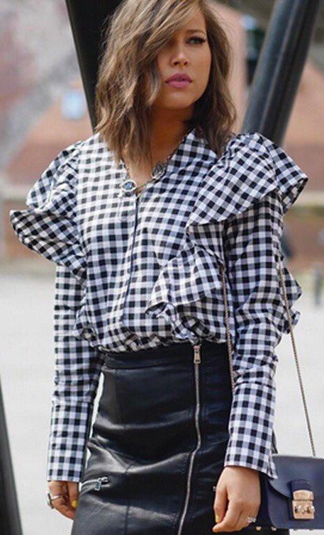 Can you help me find exactly the same black and white gingham print top with ruffles? - SeenIt