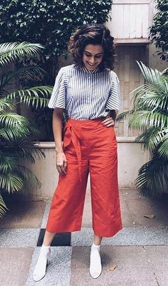 Looking for a similar pair of culottes and striped top like Taapsee Pannu is seen wearing while promoting her upcoming movie Judwaa2 - SeenIt