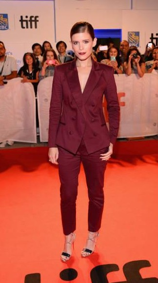 Yay or Nay?  Kate Mara attends the 'My Days Of Mercy' premiere wearing a wine colored pant suit during the 2017 Toronto International Film Festival - SeenIt