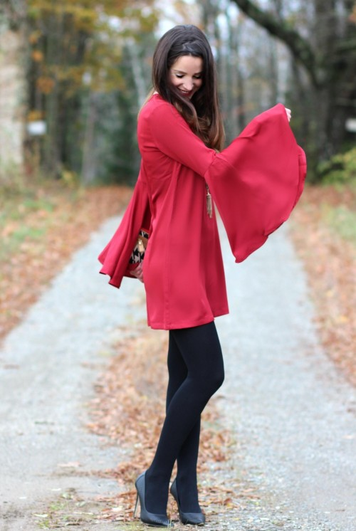 Looking for the similar red shift dress with bellsleeves - SeenIt
