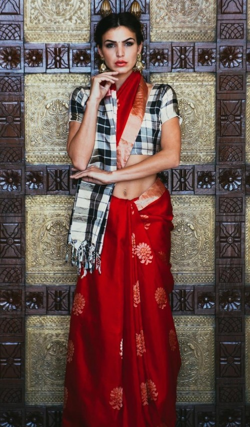 Looking for this red embroidered silk saree with checkered blouse. - SeenIt