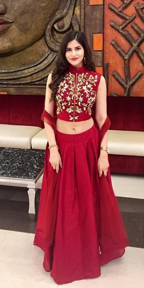 Help me find this maroon lehenga with sequin embroidered sleeveless blouse. - SeenIt