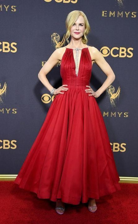 Yay or Nay? Nicole Kidman wearing a red plunge neck flared ankle length Calvin Klein gown at the Emmy awards last nigh - SeenIt