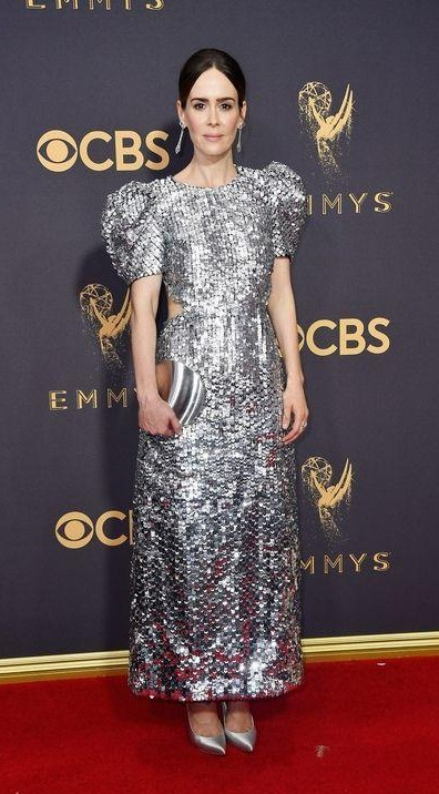 Yay or Nay? Sarah Paulson wearing a silver shimmer puff sleeve dress by Carolina Herrera at the Emmy awards last night - SeenIt