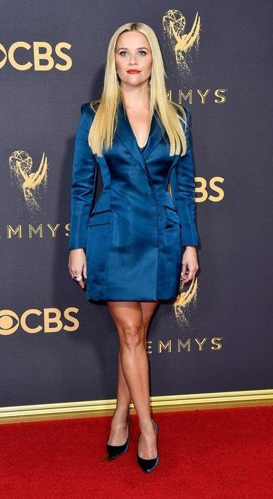 Yay or Nay? Reese Witherspoon wearing a blue blazer style custom made dress by Stella McCartney at the Emmy awards last night - SeenIt