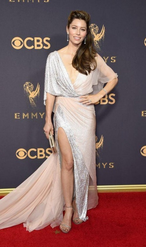 Yay or Nay? Jessica Biel wearing a golden shimmer slit Ralph & Russo gown at the Emmy awards last night - SeenIt