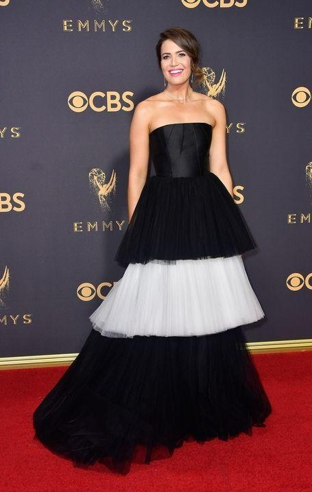 Yay or Nay? Mandy Moore wearing a black and white strapless gown by Carolina Herrera at the Emmy awards last  night - SeenIt