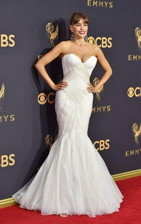 Yay or Nay? Sofia Vergera wearing a white strapless mermaid style gown by Mark Zunino at the Emmy awards last night - SeenIt
