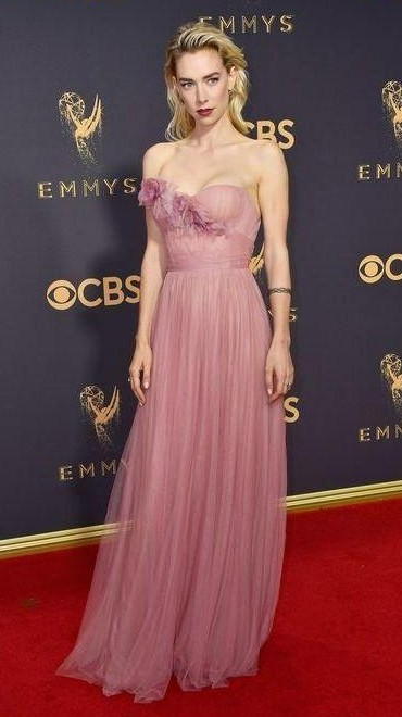 Yay or Nay? Vanessa Kirby wearing a strapless pink gown at the Emmy awards last night - SeenIt