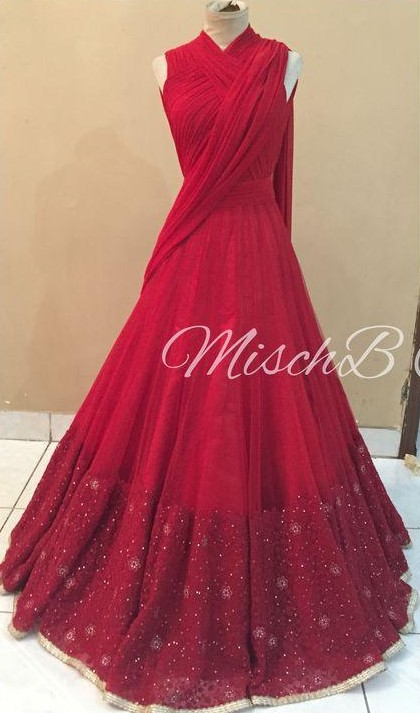Want Something similar to the red drape lehenga .. actually anything sareegown-esque😁 - SeenIt