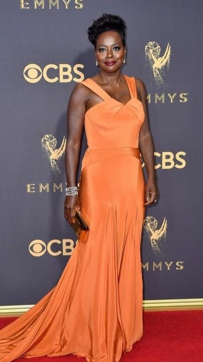 Yay or Nay? Viola Davis wearing a salmon orange trail gown by Zac Posen at the Emmy awards last night - SeenIt