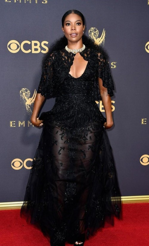Yay or Nay? Gabrielle Union wearing a black embellished Zuhair Murad gown at the Emmy Awards last night - SeenIt