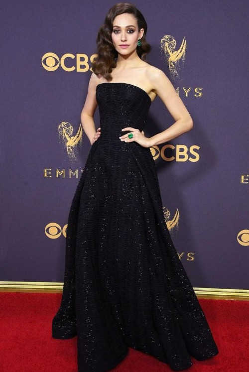 Yay or Nay? Emmy Rossum wearing a black Zac Posen strapless shimmer gown at the Emmy awards last night - SeenIt