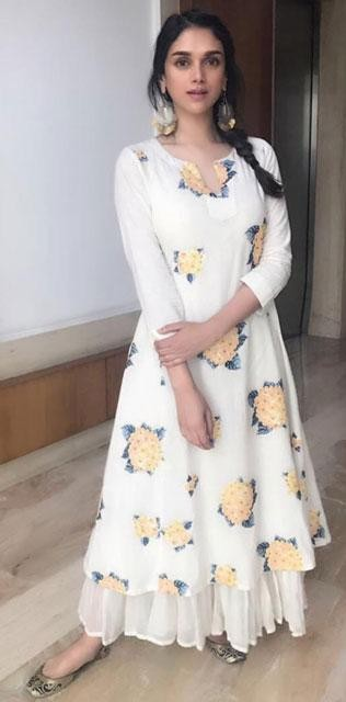 Yay or Nay? Aditi Rao Hydari wearing a white floral print Payal Pratap ethnic outfit at the promotions of Bhoomi - SeenIt