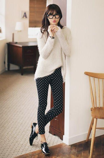 Looking for a similar black polka dot pants as such - SeenIt