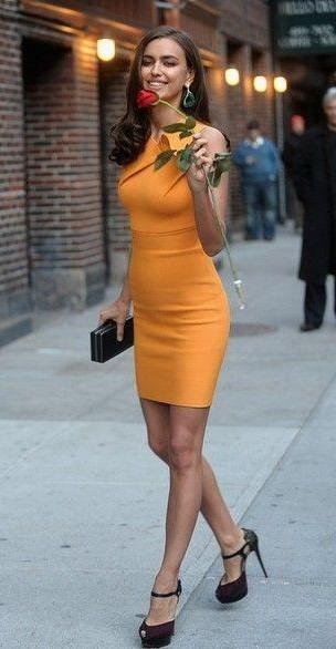 602703844c9 Help me find this mustard bodycon dress that Irina Shayk is wearing - SeenIt