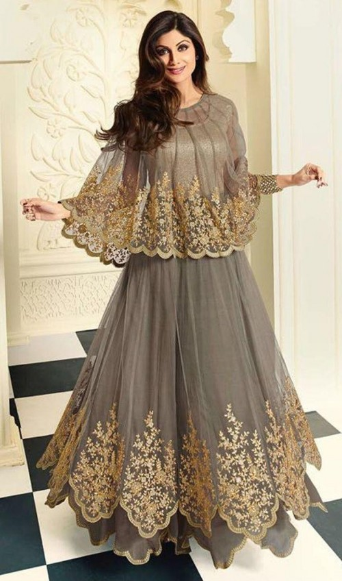 i'm looking for exact grey cape anarkali which Shilpa Shetty is wearing - SeenIt