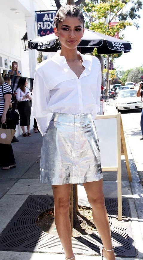 Looking for the white shirt with silver mini skirt like Zendaya - SeenIt
