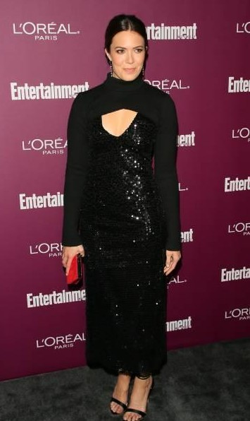 Yay or Nay?  Mandy Moore attends the 2017 Entertainment Weekly Pre-Emmy Party wearing a black shimmer dress at Sunset Tower - SeenIt