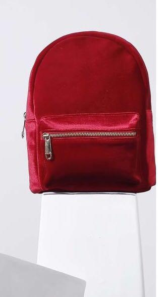 I'm looking for something similar to this red velvet backpack  in India - SeenIt