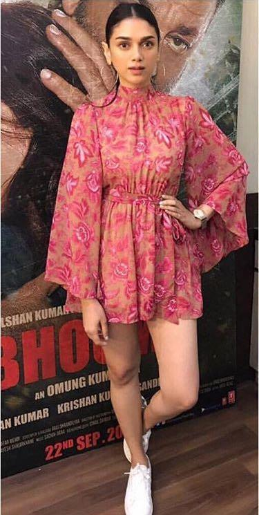Yay or Nay? Aditi Rao Hydari wearing a short Trabea dress at the promotions of Bhoomi her upcoming movie - SeenIt
