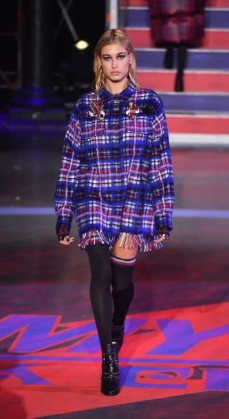 Yay or Nay?  Hailey Baldwin wearing a blue coat walks the runway at the Tommy Hilfiger show during London Fashion Week - SeenIt