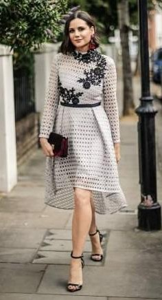 Yay or Nay?  Lilah Parsons wearing an 8th Sign dress, H&M earrings, Monsoon handbag and Giuseppe Zanotti shoes on Day 5 of London Fashion Week - SeenIt