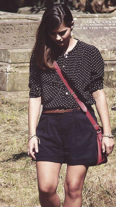 Looking for the black polka dot shirt with black shorts that Jenna Coleman is wearing - SeenIt