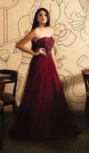 Help me find a similar maroon tube gown that is seen in thesnobjournal - SeenIt