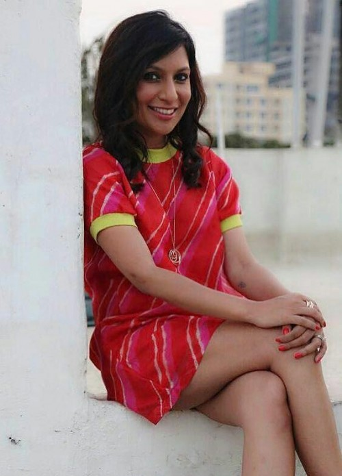 Where can I find this red tie and dye shift dress with yellow contrast detailing that Miss Malini is wearing? - SeenIt