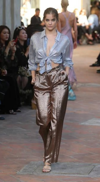 Yay or Nay? Barbara Palvin wearing a sheer shirt and shimmer pants walks the runway at the Alberta Ferretti show during Milan Fashion Week - SeenIt