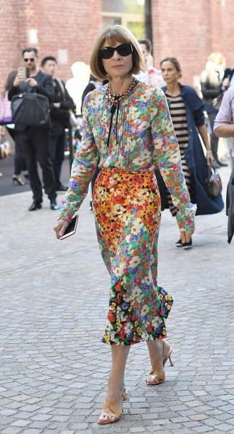 Yay or Nay? Anna Wintour wearing a floral printed midi dress spotted outside the Gucci show during Milan Fashion Week - SeenIt