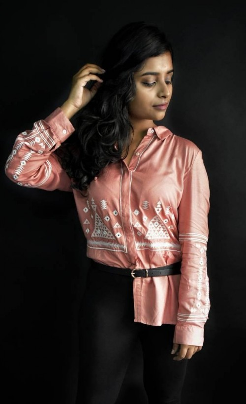 I want this pink sleek embroidered shirt. - SeenIt