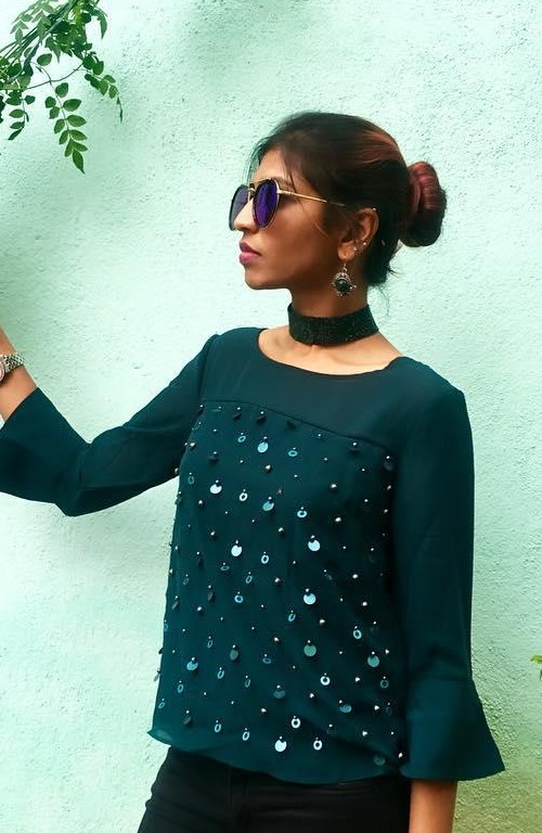 This emerald green sequin embellished top is what I am looking for. - SeenIt