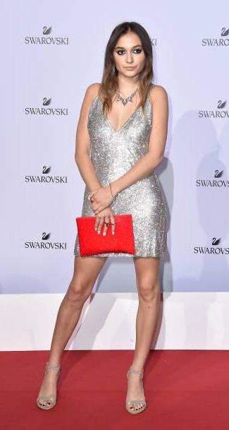 Yay or Nay? Daya attends Swarovski Crystal Wonderland Party wearing a short silver shimmer dress during the Milan fashion week - SeenIt