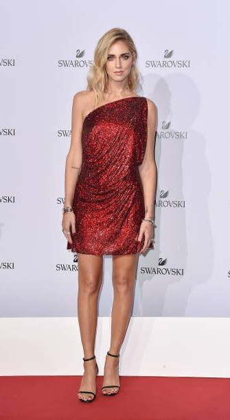 Yay or Nay? Chiara Ferragni attends Swarovski Crystal Wonderland Party wearing a one shoulder shimmer dress during the Milan fashion week - SeenIt