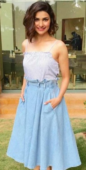 Help me find this blue midi skirt that Prachi Desai is wearing - SeenIt