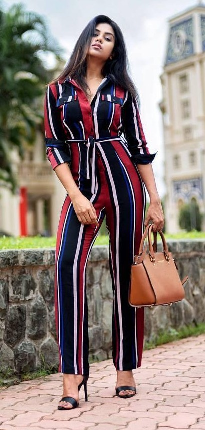 Where can I find this red, black, white and blue striped jumpsuit? - SeenIt