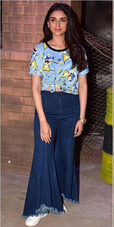 Help me find a similar outfit like Aditi Rao Hydari is wearing, the denims and top at the promotions of Bhoomi recently - SeenIt