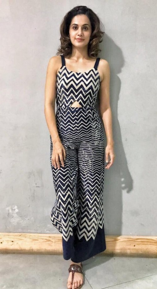 I want this blue and white chevron print jumpsuit that Taapsee Pannu is wearing. - SeenIt