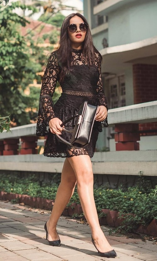 Help me find this black lace dress, round sunglasses and pumps that Styledrive is wearing. - SeenIt