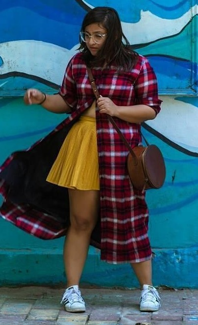 Help me find this red plaid long shirt, yellow skater skirt and white shoes - SeenIt