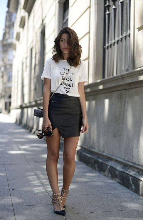 Looking for the whole outfit , the black leather mini skir and tee - SeenIt
